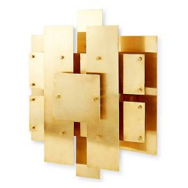 RH CONSTRUCTIVIST BRASS PANEL WALL LAMP