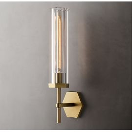 MATTEO RIBBED GLASS HEXAGONAL GRAND WALL LAMP
