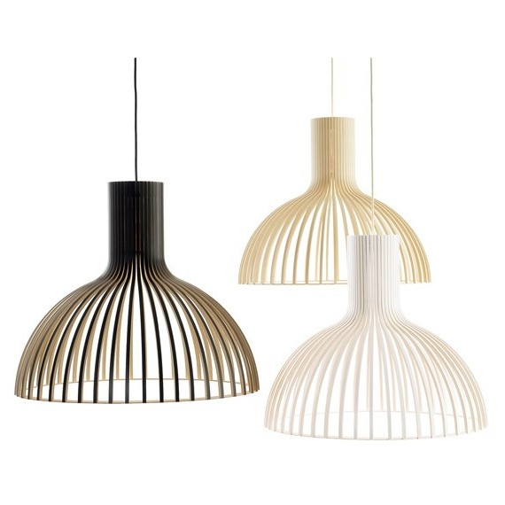 Victo 4250 pendant lamp Secto Design black color / white color / natural wood color front view