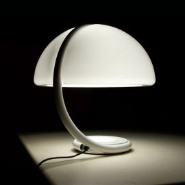 Serpente table lamp Martinelli Luce white color side view