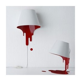 Liquid wall lamp white color red inside the shade