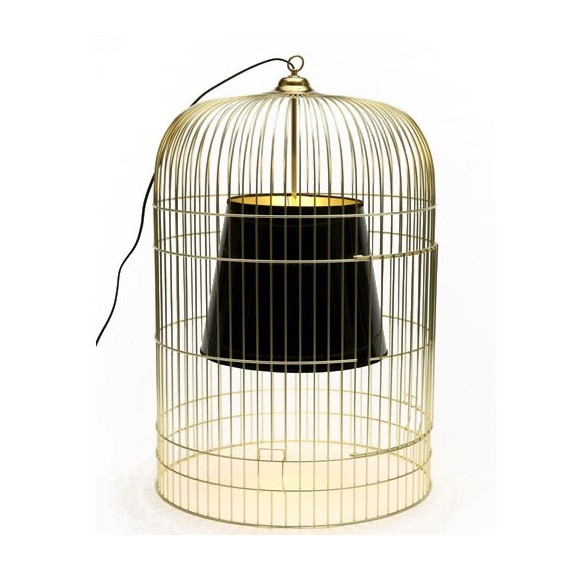 Sunset table lamp Ascète golden cage black lampshade front view