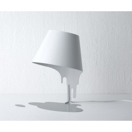 Liquid table lamp white inside the shade with white outside front view