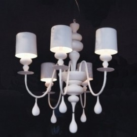 Eva chandelier Masiero white color 5 lights front view