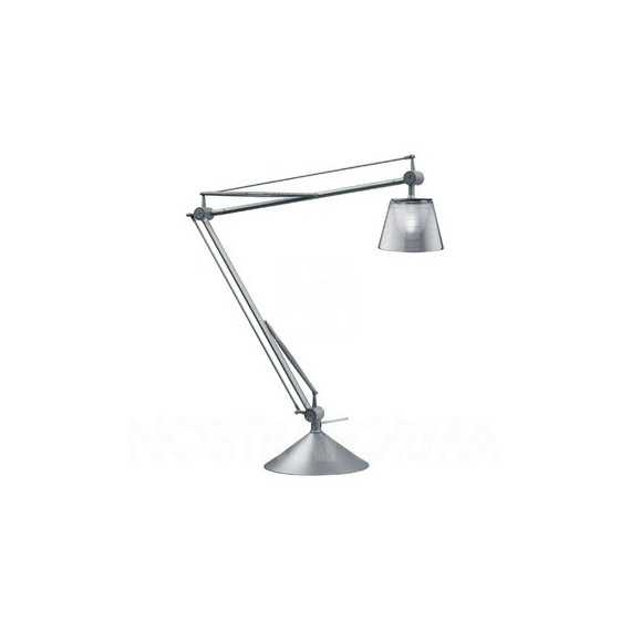 Archimoon K table lamp Flos silver color front view