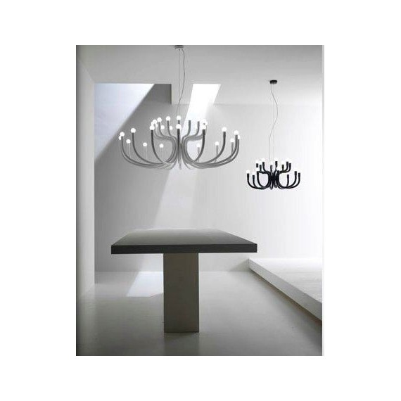 Snoob Chandelier Karman white color 16 arms / black color 8 arms side view