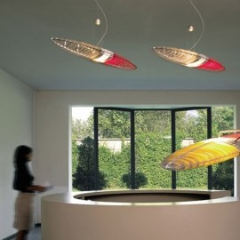 Titania pendant lamp Luceplan polycarbonate silk screened in red / blue / yellow in living room