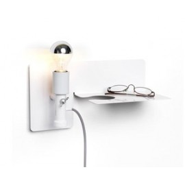 Sunday wall lamp with Shelf Northern lighting white color front view