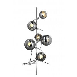 Mirror ball tripod floor lamp Tom Dixon chrome color front view