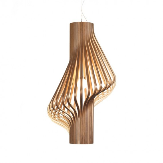 Diva pendant lamp Northern lighting natural wood color front view