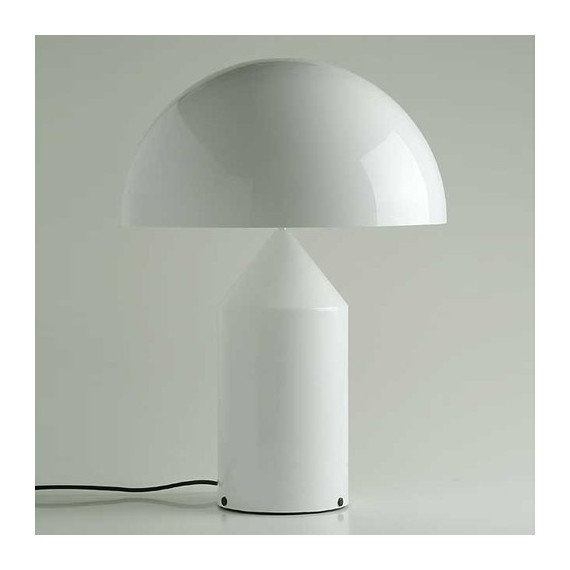Atollo 237 table lamp in glass Oluce white color front view