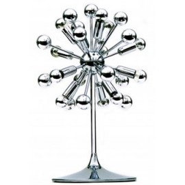 Sputnik table lamp chrome color front view