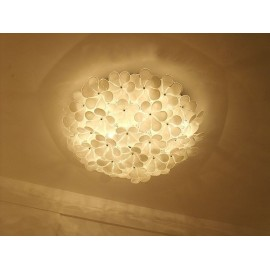 Alwin ceiling lamp circle white color Diam 55cm front view