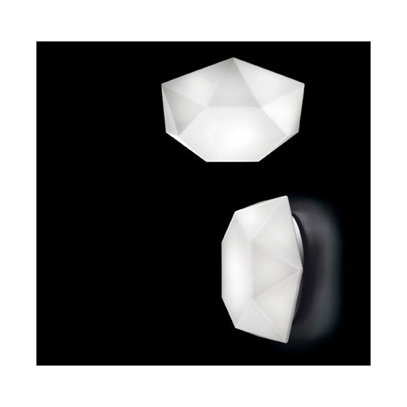 Diamond cut wall or ceiling lamp Murano Due white color front view