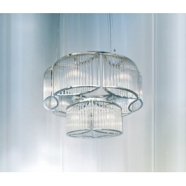 Stilio chandelier 2 tier Licht im Raum silver color Diam 70cm front view