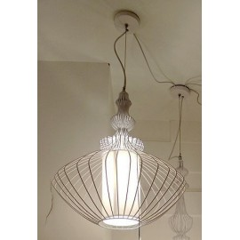 Wire pendant lamp Elite white color Model A front view