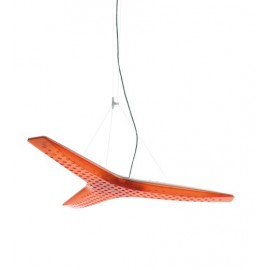 Aircon pendant lamp Luceplan orange color front view