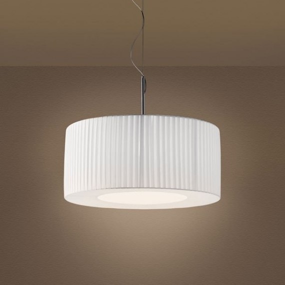 Cilindro Pleated Pendant lamp Modoluce bordeaux color front view