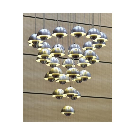 Flowerpot chandelier And Tradition chrome color front view