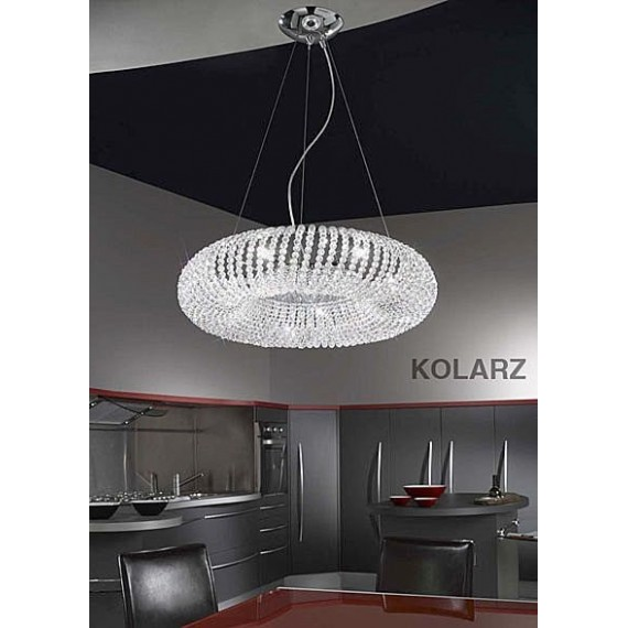 Carla crystal pendant lamp Kolarz chrome color front view