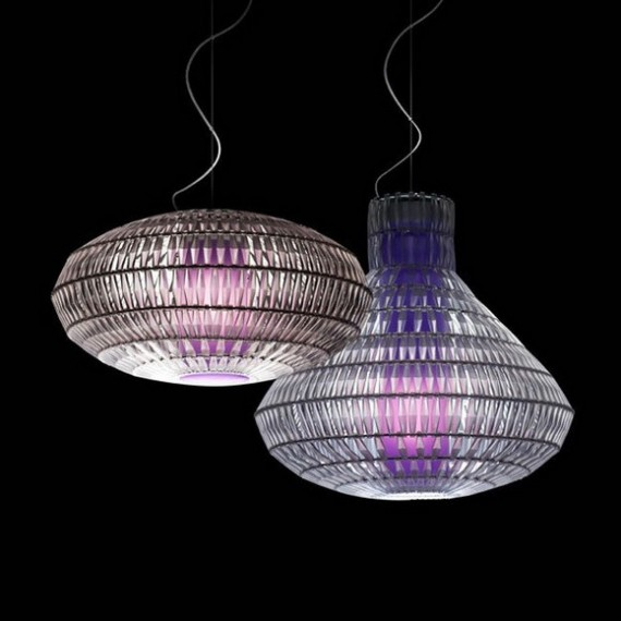 Tropico Bell pendant lamp Foscarini purple color side view