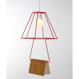 Book pendant lamp Groupa Studio red color front view