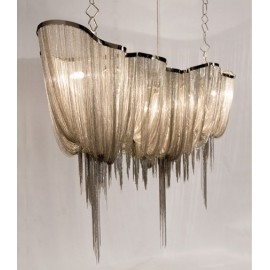 Atlantis chandelier Long Terzani nickel color side view