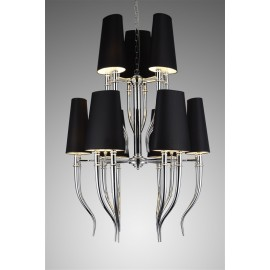 Brunilde Chandelier black color 6+3 horns front view