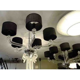Babylon Chandelier Barovier&Toso White, black color 5 lampshades front view