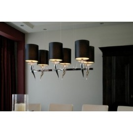Loving arms rectangular Chandelier Ilfari black color 6 bulbs front view