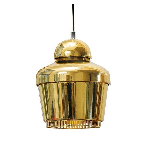 Golden Bell A330 Pendant Lamp Artek gold color front view