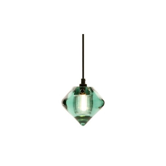 Pressed Glass in color pendant lamp Tom Dixon blue color Bead front view