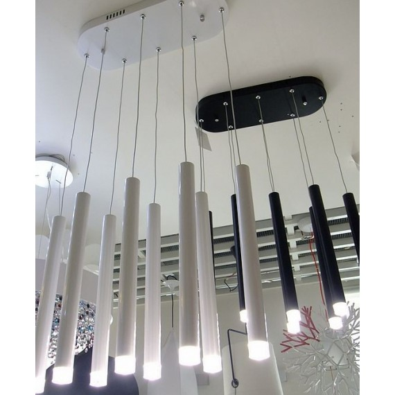 Shooting Star LED pendant or ceiling lamp Lumiven white color / black color 8 lights side view