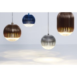Fin Obround LED pendant lamp Tom Dixon copper color / blue color / argent color back view