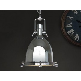 Country industrial pendant lamp chrome color S back view
