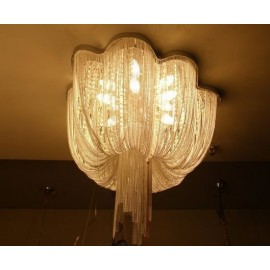 Atlantis chandelier ceiling lamp Terzani chrome color front view