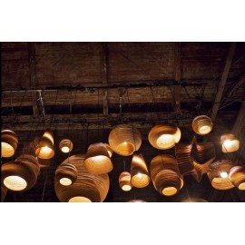 Drum Scraplight pendant lamp Foscarini natural color side view