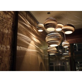 Bell Scraplight pendant lamp Foscarini natural color in dining room