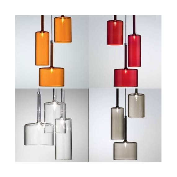 Spillray pendant lamp M Axo red color / white color / smoke color / orange color side view
