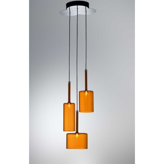 Spillray pendant lamp 10 lights Axo orange color with detail