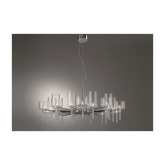 Spillray chandelier 20 lights round Axo white color side view