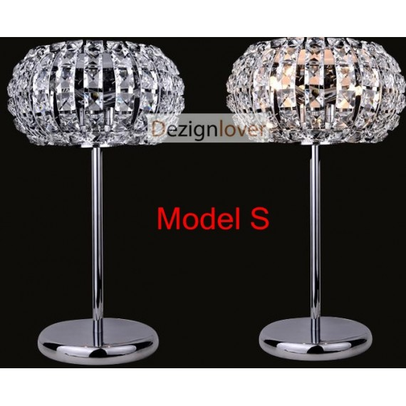 Nashira crystal table lamp Marchetti polished nickel color S front view