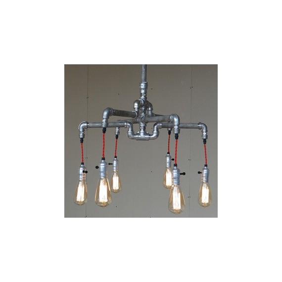Industrial Iron Pipe pendant lamp 4 bulbs silver color front view