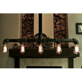 Industrial Iron Pipe pendant lamp w/cross down drop black color front view