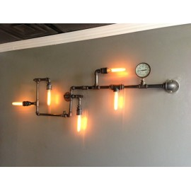 Custom Industrial Iron Pipe wall lamp black color L front view