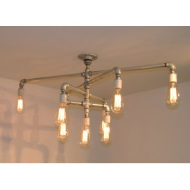 Industrial Iron Pipe pendant lamp 9 bulbs silver color front view