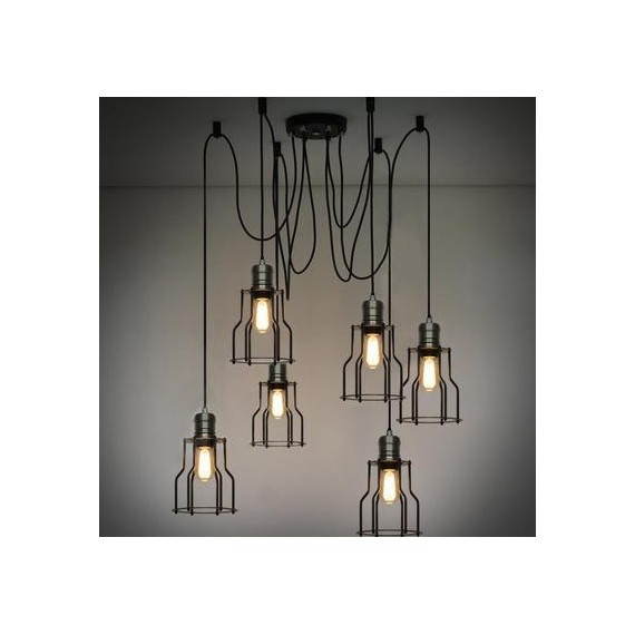 Cage Industrial light Chandelier with Edison bulbs Pottery Barn black color 6 lights front view
