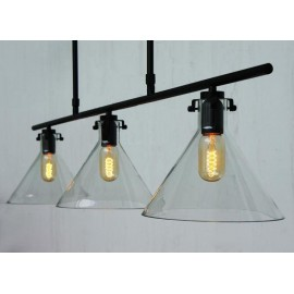 Meridian clear glass funnel Chandelier with Edison bulbs Pottery Barn black color side view