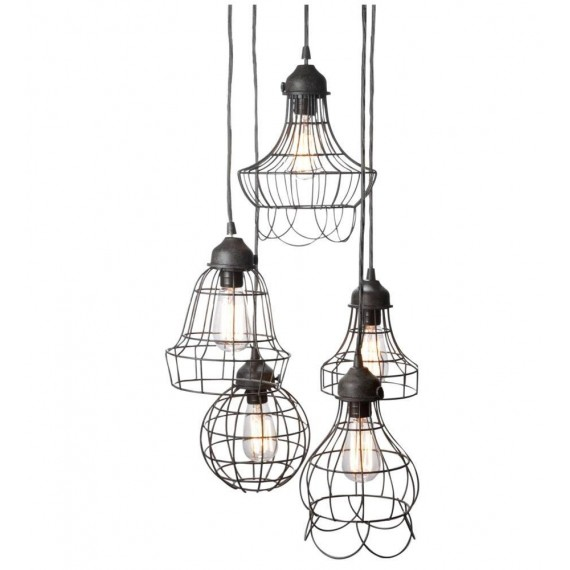 Wire Five Pendant lamp with Edison bulbs Pottery Barn black color 5 lights front view