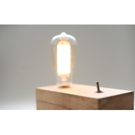Retro wooden table lamp with edison bulb Blu Dot natural color 1 light front view